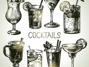 8 handpainted cocktail vector