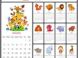 2016 cartoon animals calendar vector map