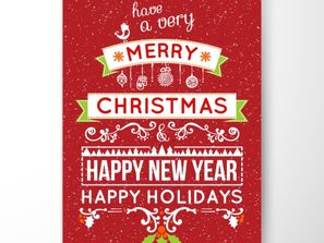 an elaborate red Christmas New Year greeting card