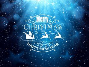 beautiful blue Halo Christmas New Year greeting card vector