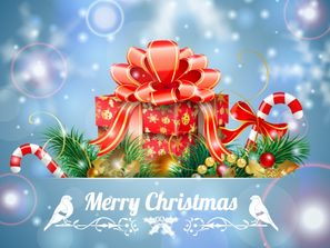 a beautiful wrapped gift box Christmas greeting card vector