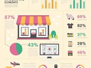 colored shopping element information map vector