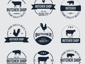 9 innovative meat products, store, tags, vector .
