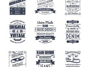 9 cowboy clothing label vector