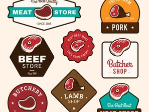 8 colour meat products label vector