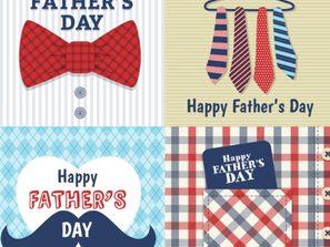 Design factors s: 4 cartoon far's day greeting cards vector
