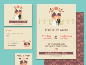 3, wedding invitation card, both sides of  vector map.