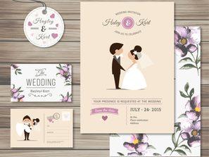 3 purple, wedding, card, vector