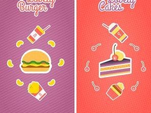 2 cartoon food banner vector map.