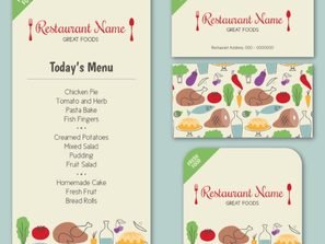 3 Color restaurant menu card vector map