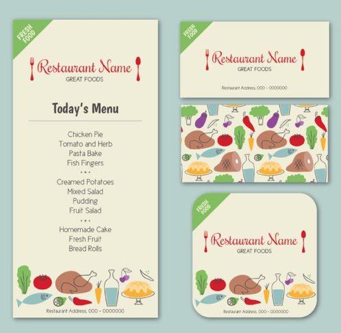 3 Color restaurant menu card vector map
