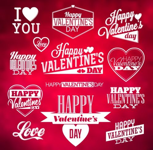 13) Valentine's Day art word tag vector map