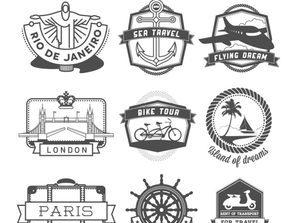 9 creative travel labels vector