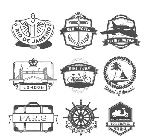 9 creative travel labels vector