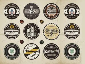 European and American classic retro label vector logo