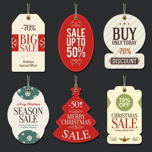 6 of Christmas sale tags, vector .