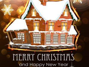 snow house Christmas card vector