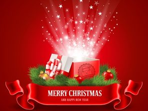 Christmas, beautiful, red, open lid gift box vector