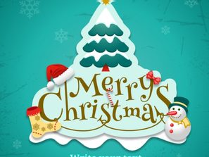 child fun Christmas tree label cards vector
