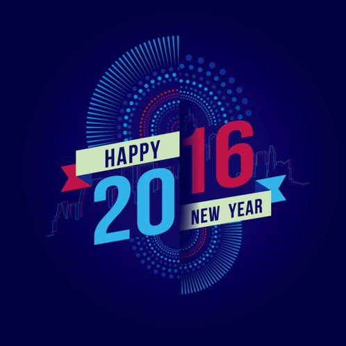 creative 2016 New Year greeting cards vector
