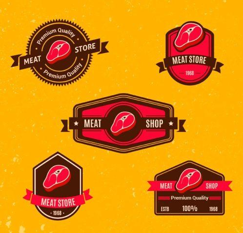 5 red meatshop label vector