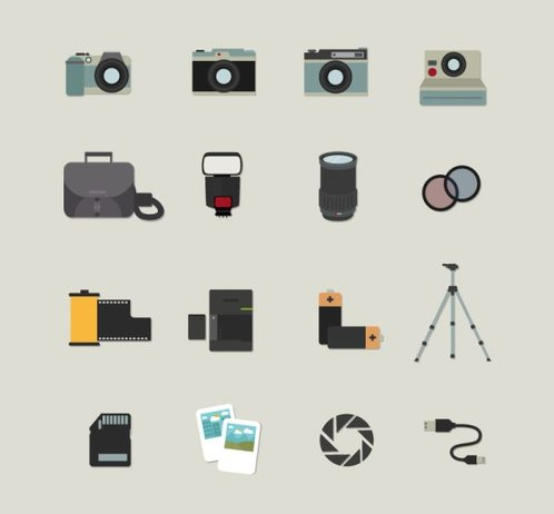16, of photography element icon vector map.