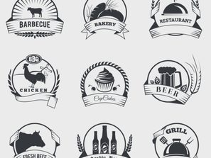 9 retro food label vector map.