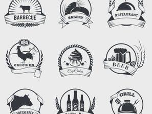 9 retro food label vector map.