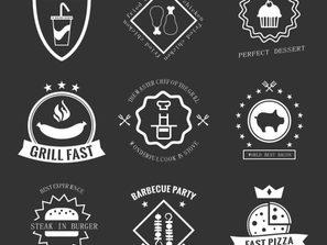 9 food label logo design vector